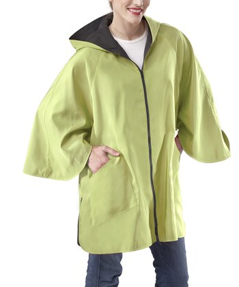 Jet Black & Leaf Green Blue Reversible Patty Cape-Sleeve Jacket
