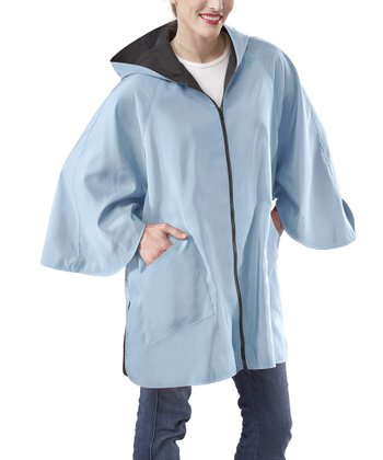 Jet Black & Pool Blue Reversible Patty Cape-Sleeve Jacket