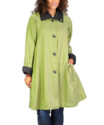 Jet Black & Leaf Green Reversible Riassa Coat
