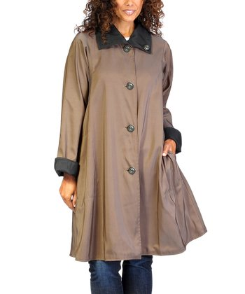 Jet Black & Nutmeg Taupe Reversible Riassa Coat