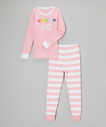 Pink & White Heart Stripe Personalized Pajama Set - Toddler & Girls
