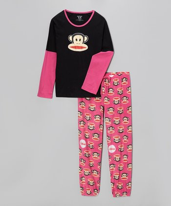 Black & Pink Paul Frank Pajama Set - Women