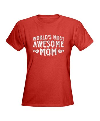 Red 'Awesome Mom' Tee
