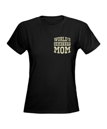 Black Vintage 'World's Okayest Mom' Tee