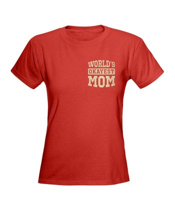 Red Vintage 'World's Okayest Mom' Tee