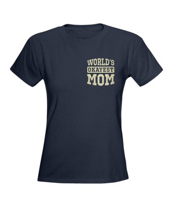Navy Vintage 'World's Okayest Mom' Tee
