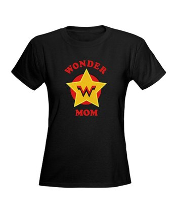 Black 'Wonder Mom' Superhero Tee