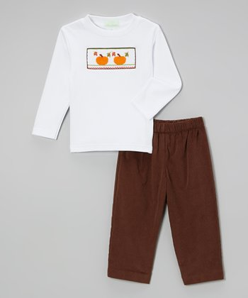 Brown & White Corduroy Pumpkin Tee & Pants - Infant & Toddler