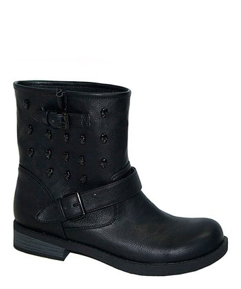 Black Press Double Buckle Boot