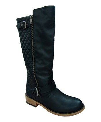 Black Relax Quilted Riding Boot