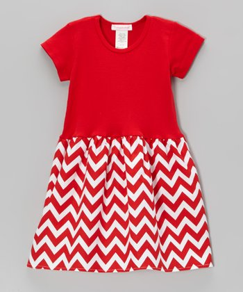 Red & White Zigzag Dress - Infant, Toddler & Girls