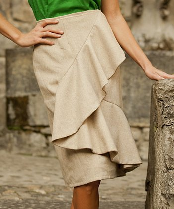 Camel Curtsy Wool-Blend Skirt