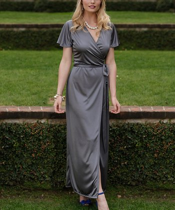 Silver Maid of Honor Wrap Dress