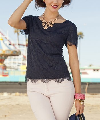 Blue Looff's Pier Cap-Sleeve Top