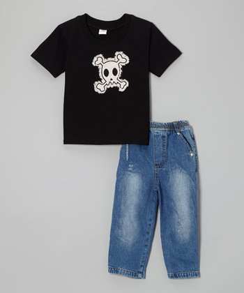 Black Skull Tee & Jeans - Infant, Toddler & Boys