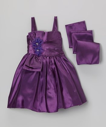 Purple Flower Dress & Scarf  - Toddler & Girls
