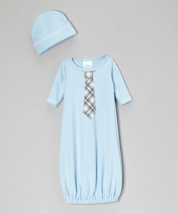 Blue Plaid Tie Gown & Beanie - Infant