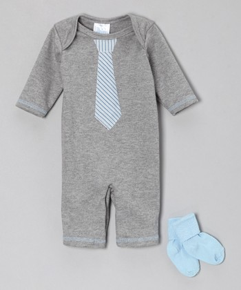 Gray Tie Playsuit & Blue Socks - Infant