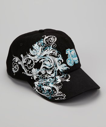 Black & Blue Floral Swirl Embroidered Baseball Cap