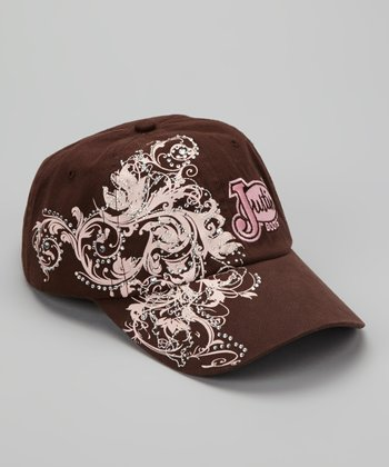 Pink & Brown Floral Swirl Embroidered Baseball Cap