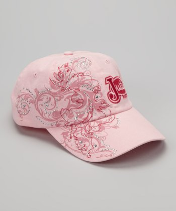 Pink Floral Swirl Embroidered Baseball Cap