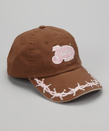 Brown & Pink Barbed Wire Embellished Baseball Cap