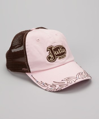 Brown & Pink Embellished Trucker Baseball Cap