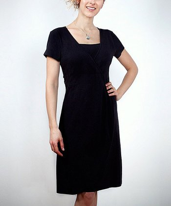 Black Stella Nursing Surplice Dress