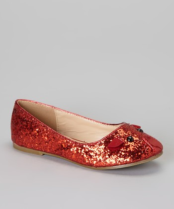 QQ Girl Red Glitter Mause Flat
