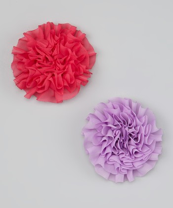 Dark Pink & Lilac Flower Clip Set