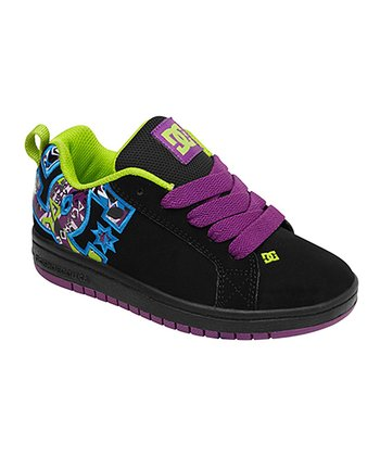 Black & Purple Wine Court Graffik SE Sneaker