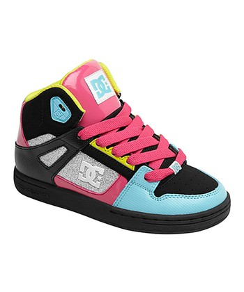 DC Black & Neon Pink Rebound Sneaker