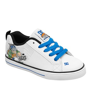 White & Blue Court Graffik V Sneaker