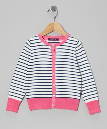 Estate Blue & Pink Stripe Cardigan - Infant, Toddler & Girls