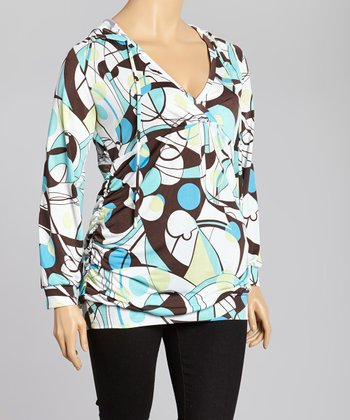Turquoise & White Abstract Hooded Top - Plus