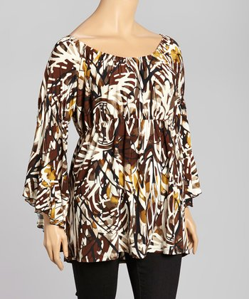 Brown & White Abstract Peasant Top - Plus