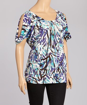 Blue & White Abstract Cutout Top - Plus