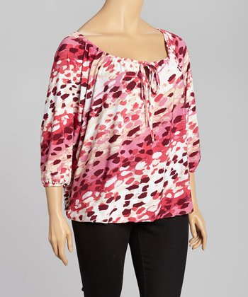 Pink & Cream Abstract Peasant Top - Plus