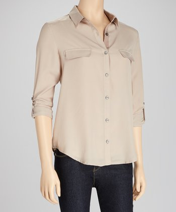 Taupe Roll-Sleeve Button-Up