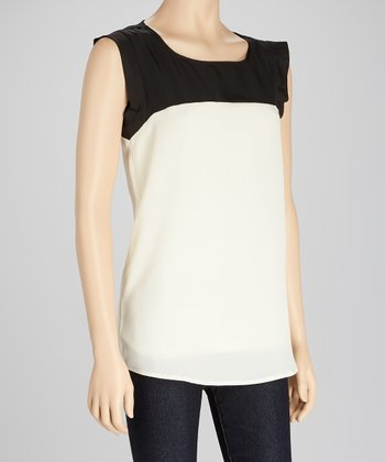 White & Black Color Block Sleeveless Top
