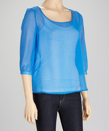 Blue Sheer Polka Dot Top