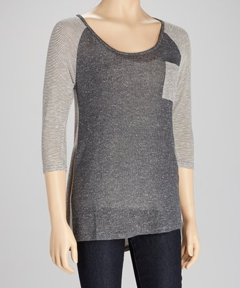 Gray Stripe Raglan Tee
