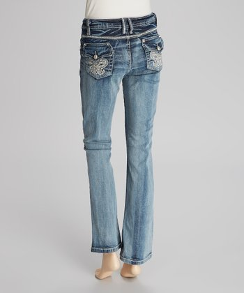 Medium Vintage Blue Stud Slim Bootcut Jeans