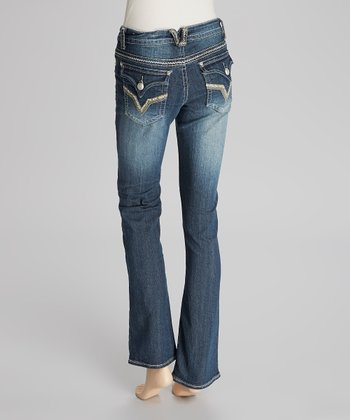 Dark Blue Slim Bootcut Jeans