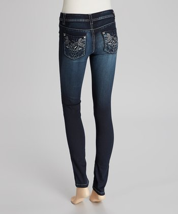 Dark Blue Rhinestone Stretch Jeans