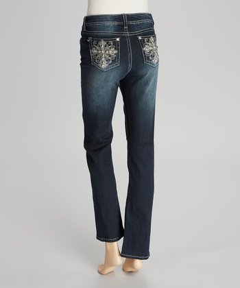 Dark Blue Rhinestone Cross Slim Bootcut Jeans