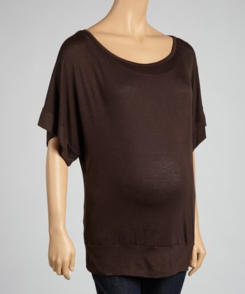Brown Maternity Short-Sleeve Top