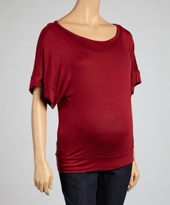 Wine Maternity Short-Sleeve Top
