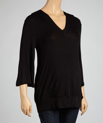Black Pocket Maternity Hoodie Top