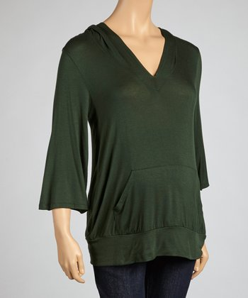 Olive Pocket Maternity Hoodie Top